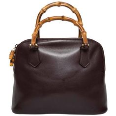 bc025f15abb8 Preowned Gucci Vintage Alma Tote In Dark Brown Leather With Bamboo... ( 395