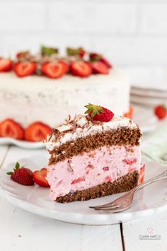 Erdbeertorte mit Yogurette® Strawberry cake with Yogurette® Delicious Cake Recipes, Pie Recipes, Sweet Recipes, Gourmet Cakes, Food Cakes, Summer Cakes, Cream Pie, Cakes And More, How To Cook Pasta