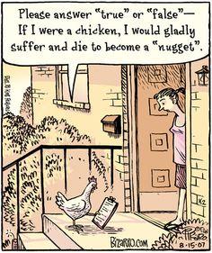 """Prego risponda """"vero"""" o """"falso"""".Se io fossi una gallina, soffrirei felicemente e morirei per diventare una crocchetta"""