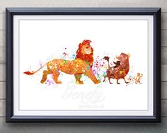 Disney Lion King Watercolor Poster Print - Wall Decor - Watercolor Painting - Watercolor Art - Kids Decor- Nursery Decor by GenefyPrints on Etsy https://www.etsy.com/au/listing/253908826/disney-lion-king-watercolor-poster-print