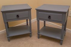 Using Americana Decor Chalky Finish paint in Yesteryear and Relic to give a face lift to a bargain find, two old nightstands. | painted furniture, chalk paint diy