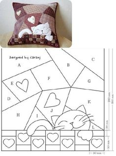 Entretelas et patchwork: Coussin, Cat Quilt Patterns, Patchwork Patterns, Patchwork Quilting, Applique Patterns, Crazy Quilting, Sewing Appliques, Loom Patterns, Patchwork Cushion, Quilted Pillow