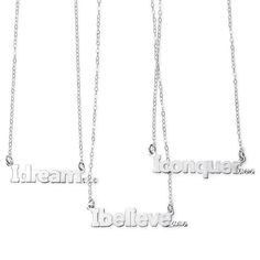 Sterling silver necklace with inspirational message pendant. In your choice of I dream, I believe, I conquer. Regularly $39.99, buy Avon Jewelry online at http://eseagren.avonrepresentative.com