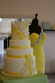 lemon yellow & white wedding cake