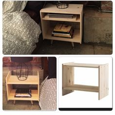 My nightstand modern end table hack - pinnershippi Funky Furniture, Rustic Furniture, Furniture Ideas, Ikea Rast Nightstand, Small Apartment Storage, Petites Tables, Modern End Tables, Discount Furniture, Furniture Outlet