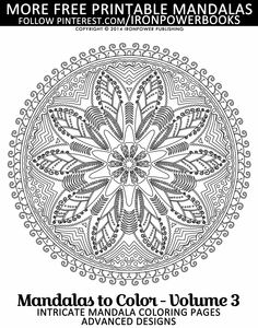#FREE Mandala Coloring Pages for adults | Have this very intricate design for you to color | For a complete Mandala paperback copy, please visit http://www.amazon.com/Mandalas-Color-Intricate-Coloring-Advanced/dp/1495449017