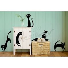 Oh my goodness! These cats decals are soooo sweeet! Wall decal 5 funny cats - Lovely Walls