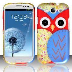Red Samsung Galaxy S3 III i9300 Rubberized Design Cover - Owl 3 Design