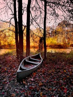 Forgotten Canoe by John Cardamone on Autumn Scenery, Autumn Trees, Boating Pictures, Costa, Paddle Boat, Old Boats, Wooden Boats, Water Crafts, Abandoned