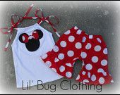 Custom Boutique Clothing White Red Jumbo Dot Minnie Mouse Short Set