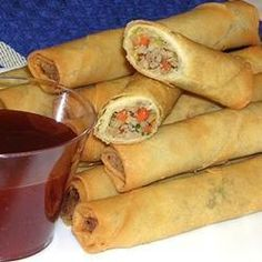 Lumpia is simply a Filipino egg roll filled with vegetables and meat. It can also be served with sweet chili sauce.