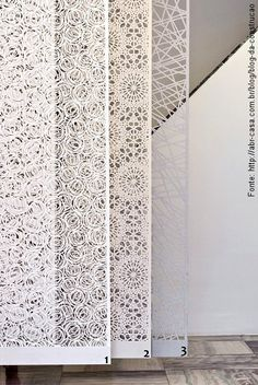 Três lindas tramas dos paineis em tecido cortado a laser da Art Maison…
