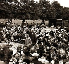 Winston Churchill amongst the crowds as he tours his constituency at Buckhurst Hill - UK - 1945