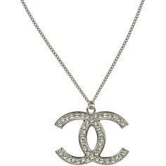 Pre-owned Chanel Silver Crystal Encrusted CC Pendant Necklace ($895) ❤ liked on Polyvore featuring jewelry, necklaces, clear crystal pendant necklace, silver necklace pendant, drusy pendant, chanel necklace and druzy necklaces