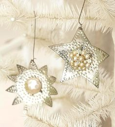 DIY-Sparkling Silver Stars star ornament, christmas crafts, vintage christmas, silver star, angel crafts, bulb, sparkl silver, tin, homemade christmas