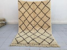 Your place to buy and sell all things handmade Simple Geometric Pattern, Geometric Designs, Beni Ourain, Cool Rugs, Diamond Pattern, Brown And Grey, Rug Size, Moroccan, Bohemian Rug