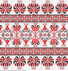 Hungarian pattern Hertelendyfalvi székely varrottas kistulipános minta Folk Embroidery, Cross Stitch Embroidery, Cross Stitch Patterns, Crochet Patterns, Cross Stitch Boards, Red Pattern, Knitting Charts, Crafty Craft, Blackwork