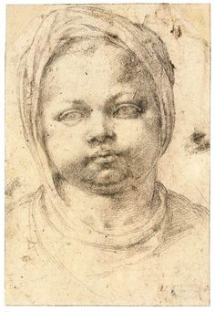 Michelangelo Buonarroti, 1475-1564, Italian, Study of a Child's Head (recto), 1524-26. Black chalk, 23.5 x 16.1 cm. Teylers Museum, Haarlem. High Renaissance.