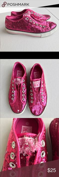 Pink sequin converse size 7 women's no lace Overall shoe is in good condition Converse Shoes Sneakers