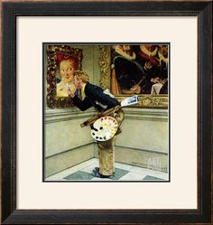 """""""Art Critic"""", April 16,1955 Giclee Print by Norman Rockwell at Art.com"""