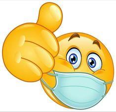 Emoji emoticon with medical mask over mouth showing thumb up Smiley Emoji, Emoji Set, Images Emoji, Emoji Pictures, Funny Pictures, Animated Emoticons, Funny Emoticons, Animated Smiley Faces, Emoji Love