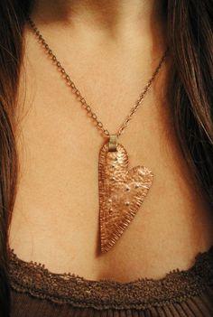 Cross my heart-copper pendant