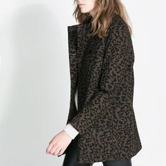 Western Style Leopard Print Double Breasted Designer Coats