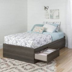 South Shore Savannah Twin Mates Bed with 3 Drawers, Multiple Finishes, Gray