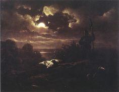 Artur Grottger - Nokturn. 1863 Nocturne, Private Website, Illustrations, Dark Art, Night Time, Moonlight, 19th Century, Sunrise, Clouds