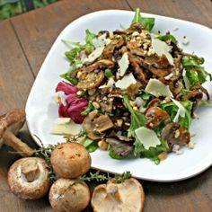 Not-so-mellow mushrooms: Sherry-Braised Wild Mushroom Salad with Pecorino and Hazelnuts