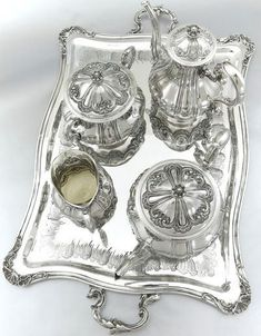 French Sterling Silver Tea Coffee Service Set of 5pc by ODIOT http://shop.artisansilvergifts.com/collections/for-her #SterlingSilverTeaService