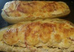 Töltött tök Hot Dog Buns, Hot Dogs, Quiche Muffins, Bread, Cheese, Vegetables, Food, Breads, Hoods