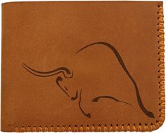 Vietsbay Men's Bull Tribal Tattoo 14 Handmade Genuine Pull-up Leather Wallet