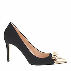 Black pumps with gold patent bow from J.Crew #holidayshoes