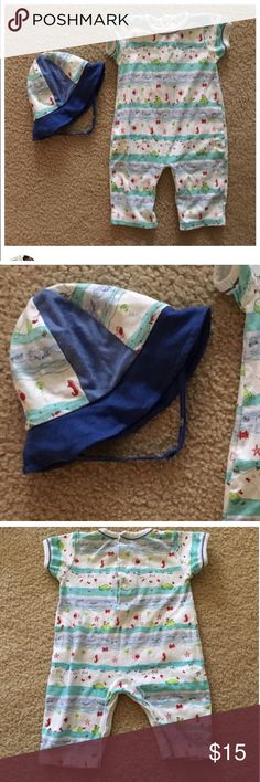 Kissy kissy adorable romper with matching hat Kissy kissy romper with matching hat size 3-6 month in excellent condition Kissy Kissy Matching Sets
