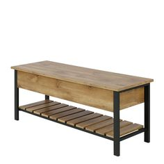 Gracie Oaks Savon Open-Top Wood Storage Bench & Reviews | Wayfair.co.uk Wooden Storage Bench, Bench With Shoe Storage, Upholstered Storage Bench, Hall Bench, Bench Seat, Frame Shelf, Leather Bench, Natural Wood Finish, Wood And Metal