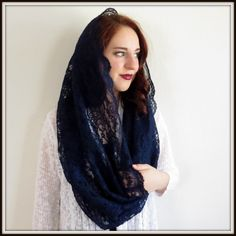Infinity mantilla -- Infinity scarf inspired lace chapel veil mantilla Christian headcovering for church, prayer, or daily wear.    This is a very