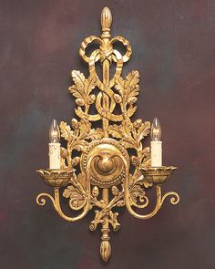 sconces - Italian  sconces - Northern Italian style carved wood wall sconce in antiqued gold leaf finish