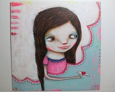 whimsical girl painting folk art whimsical by thesecrethermit, $42.00