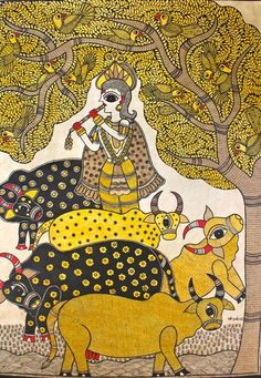 Madhubani Art Gallery has collection of different form of Folk Arts of Mithila. Sikki Work, Paintings, Prints and Cards. Buddha Painting, Madhubani Painting, Mural Painting, Mural Art, Painting Canvas, Wall Murals, Kalamkari Painting, Madhubani Art, Indian Folk Art