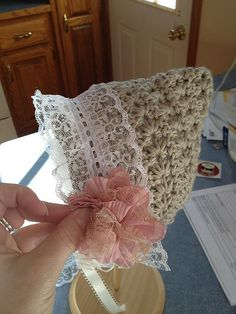 Another good example of beautiful added non-crochet embellishments