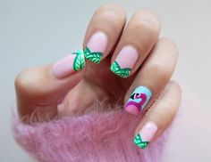 flamingo nail art