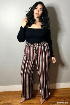 Plus size striped palazzo pants plussize plussizefashion curvyfas Outfits Plus Size, Curvy Girl Outfits, Curvy Women Fashion, Big Girl Fashion, Plus Size Dresses, Sexy Dresses, Plus Size Fashion For Women Summer, Palazzo Pants Plus Size, Plus Size Pants