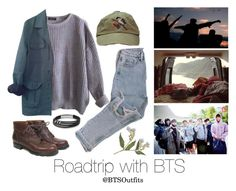 """Roadtrip with BTS"" by btsoutfits ❤ liked on Polyvore featuring American Apparel, HUGO and FOSSIL"