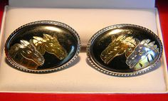Rare Vintage Swank Arts of the World Japanese SIlver Inlay Horse Cufflinks