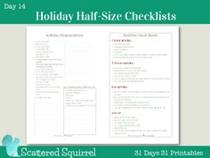Welcome to Day 14 of the 31 Days 31 Printables series.  If you're just joining us, I'm spending the whole month of October sharing at least one free printable each day.  Right now I'm working on updating my holiday planner printables, and I'm loving how they are turning out.  I've… Continue reading