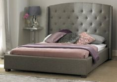 Upholstered King Size Bed With Button Tufted Headboard Bedroom Modern Bed Frames Grey Bedding, Luxury Bedding, Bedding Sets, Buy Beds Online, Grey Bed Frame, Bed Frames, Upholstered Bed Frame, Padded Headboards, Mattress Springs