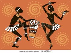 African woman. Dancing woman. Dancing aborigines