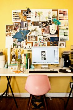 There's lots of visual inspiration to gaze upon over Gwendolyn of Dear Hancock's desk. The bright yellow wall and pink Eames chair are the picture of colorful simplicity. (via Design*Sponge) Workspace Inspiration, Inspiration Boards, Interior Inspiration, Room Inspiration, Desk Inspo, Office Workspace, Office Decor, Office Ideas, Office Spaces