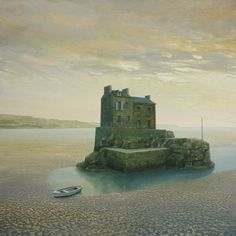 """Philippe Charles Jacquet, L'ilot, 2015, Oil On Board, 39"""" x 39"""" #art #surreal #axelle #house #island #water #landscape #boat"""